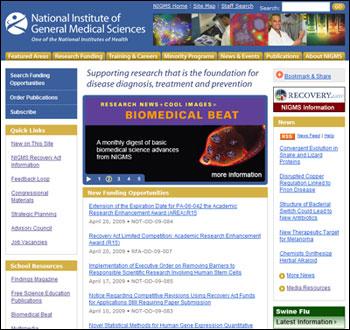 Screenshot of NIGMS Home Page