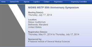 NIGMS Medical Scientist Training Program (MSTP) 50th anniversary symposium