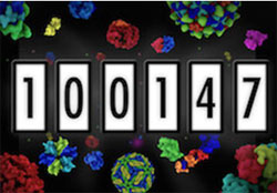 Protein Data Bank (PDB) counter showing 100,147 total number of entries.