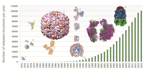 Number of structures available in the PDB per year, with selected examples. For details, see http://www.eurekalert.org/multimedia/pub/73206.php?from=267554.